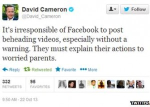 David Cameron tweet to Facebook