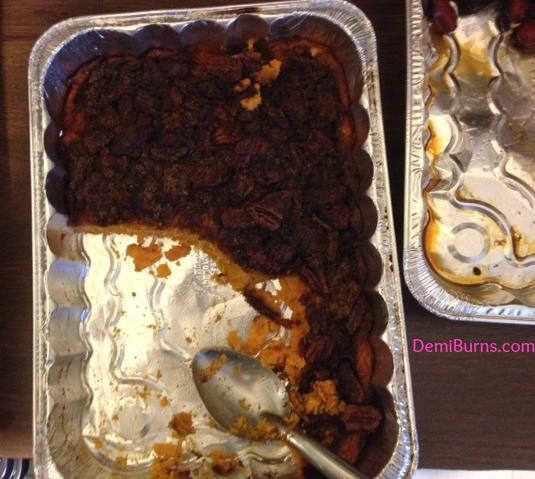 sweet potato casserole half eaten